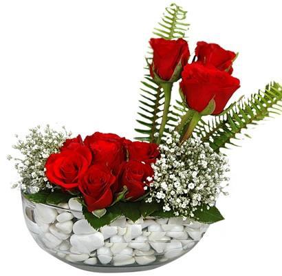 cam içerisinde 9 adet kirmizi gül  Bartın çiçek siparişi vermek