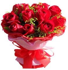 9 adet kirmizi güllerden kipkirmizi buket  Bartın çiçekçiler