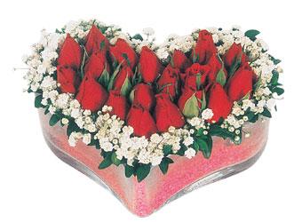 Bartın çiçekçi telefonları  mika kalpte kirmizi güller 9
