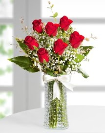 Cam vazoda 7 adet kırmızı gül  Bartın çiçek , çiçekçi , çiçekçilik