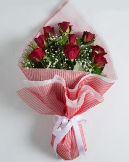9 adet kırmızı gülden buket  Bartın çiçek satışı