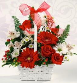 Karışık rengarenk mevsim çiçek sepeti  Bartın internetten çiçek siparişi