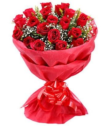 21 adet kırmızı gülden modern buket  Bartın çiçek gönderme