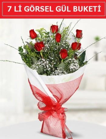 7 adet kırmızı gül buketi Aşk budur  Bartın çiçek satışı