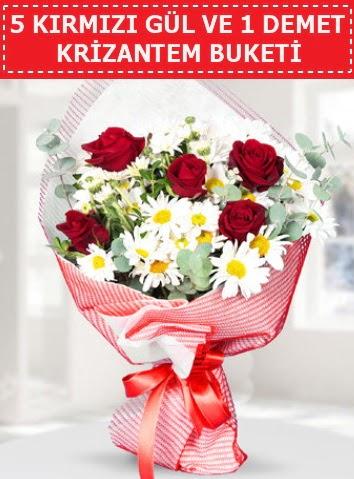5 adet kırmızı gül ve krizantem buketi  Bartın çiçek satışı