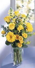 Bartın online çiçek gönderme sipariş  sari güller ve gerbera cam yada mika vazo
