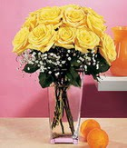 Bartın internetten çiçek satışı  9 adet sari güllerden cam yada mika vazo