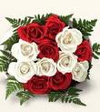 Bartın çiçek , çiçekçi , çiçekçilik  10 adet kirmizi beyaz güller - anneler günü için ideal seçimdir -