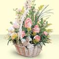 Bartın 14 şubat sevgililer günü çiçek  sepette pembe güller