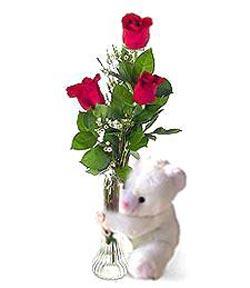 oyuncak ve 3 adet gül  Bartın çiçek siparişi sitesi