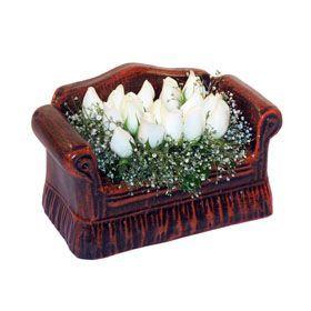 seramik içerisinde 11 gül  Bartın hediye çiçek yolla