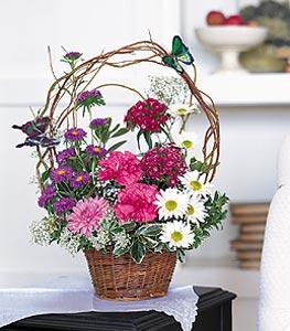 Bartın cicekciler , cicek siparisi  sepet içerisinde karanfil gerbera ve kir çiçekleri