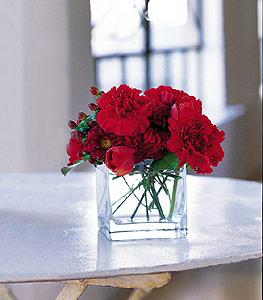 Bartın ucuz çiçek gönder  kirmizinin sihri cam içinde görsel sade çiçekler