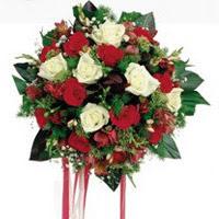 Bartın ucuz çiçek gönder  6 adet kirmizi 6 adet beyaz ve kir çiçekleri buket