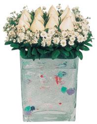 Bartın çiçekçi mağazası  7 adet beyaz gül cam yada mika vazo tanzim