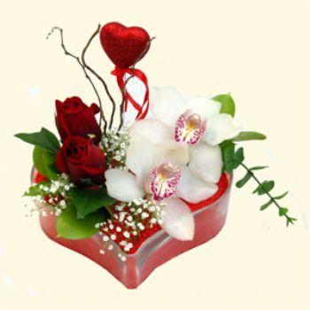 Bartın hediye sevgilime hediye çiçek  1 kandil orkide 5 adet kirmizi gül mika kalp