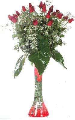 Bartın uluslararası çiçek gönderme  19 ADET GÜL VE FIL CAM AYAGI