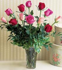 Bartın çiçek mağazası , çiçekçi adresleri  12 adet karisik renkte gül cam yada mika vazoda