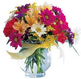 Bartın internetten çiçek satışı  cam yada mika içerisinde karisik mevsim çiçekleri