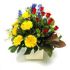 Bartın online çiçek gönderme sipariş  9 adet gül ve kir çiçekleri cam yada mika vazoda