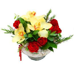 Bartın çiçek gönderme  1 adet orkide 5 adet gül cam yada mikada