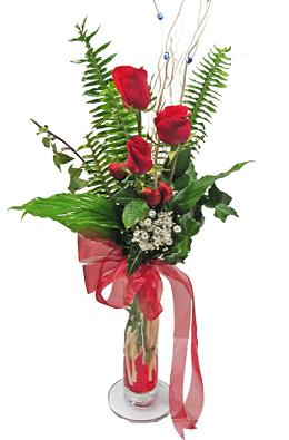Çiçek gönderin cam vazoda 3 gül çiçekleri  Bartın çiçek siparişi sitesi