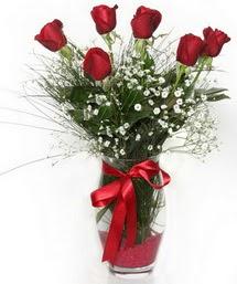 7 adet gülden cam içerisinde güller  Bartın 14 şubat sevgililer günü çiçek