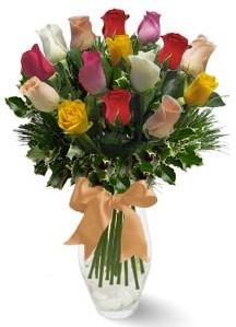 15 adet vazoda renkli gül  Bartın internetten çiçek satışı