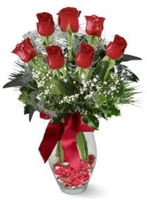7 adet vazoda gül  Bartın internetten çiçek satışı  kirmizi gül