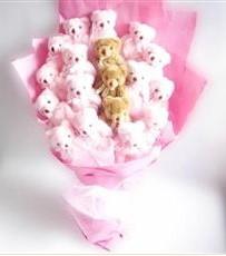 17 adet pelus ayicik buketi  Bartın İnternetten çiçek siparişi