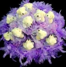 11 adet pelus ayicik buketi  Bartın çiçek , çiçekçi , çiçekçilik