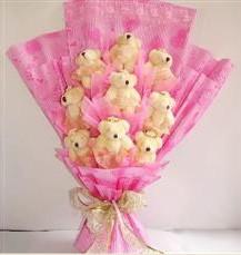 9 adet pelus ayicik buketi  Bartın anneler günü çiçek yolla