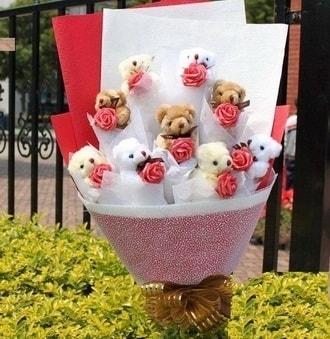 Bartın çiçek siparişi vermek  9 adet ayicik ve 9 adet yapay gül