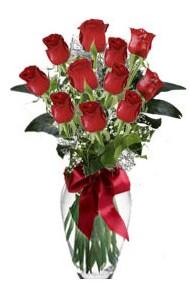 11 adet kirmizi gül vazo mika vazo içinde  Bartın 14 şubat sevgililer günü çiçek