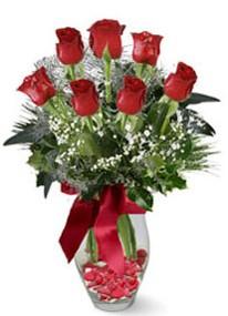 Bartın internetten çiçek siparişi  7 adet kirmizi gül cam vazo yada mika vazoda