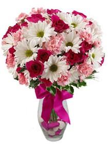 Bartın çiçek siparişi sitesi  Karisik mevsim kir çiçegi vazosu