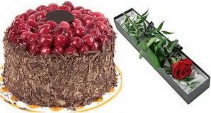 1 adet yas pasta ve 1 adet kutu gül  Bartın uluslararası çiçek gönderme