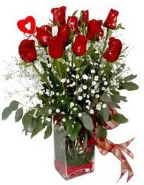 Bartın çiçek siparişi vermek  9 adet mika yada cam vazoda gül tanzimi kalp çubuk