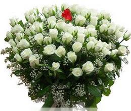 Bartın internetten çiçek satışı  100 adet beyaz 1 adet kirmizi gül buketi