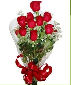 Bartın uluslararası çiçek gönderme  10 adet kırmızı gülden görsel buket
