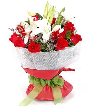 Bartın hediye çiçek yolla  1 dal kazablanka 11 adet kırmızı gül buketi
