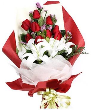 Bartın çiçekçiler  1 dal kazablankaa 9 adet kırmızı gül buketi