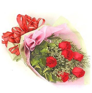 Bartın çiçek , çiçekçi , çiçekçilik  6 adet kırmızı gülden buket