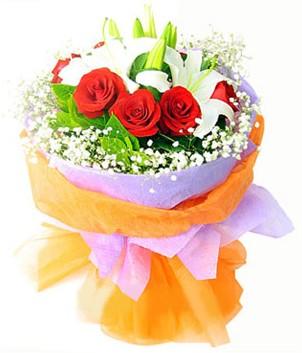 Bartın çiçek gönderme sitemiz güvenlidir  1 dal kazablanka 7 adet kırmızı gül buketi