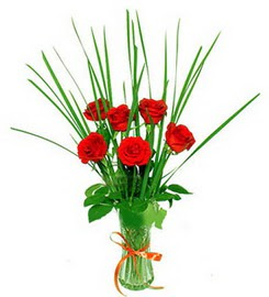 Bartın çiçek , çiçekçi , çiçekçilik  6 adet kırmızı güllerden vazo çiçeği