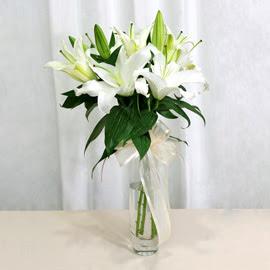 Bartın anneler günü çiçek yolla  2 dal kazablanka ile yapılmış vazo çiçeği