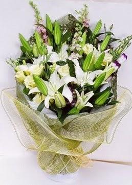 Bartın çiçek servisi , çiçekçi adresleri  3 adet kazablankalardan görsel buket çiçeği