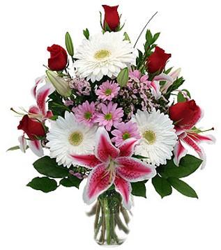 Bartın çiçek mağazası , çiçekçi adresleri  1 dal kazablanka 5 gül ve kırçiçeği vazosu