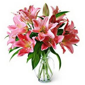 3 dal kazablanka görsel vazosu  Bartın internetten çiçek siparişi