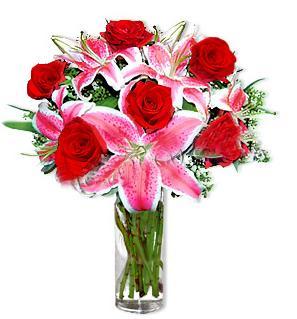 Bartın çiçek yolla  1 dal cazablanca ve 6 kırmızı gül çiçeği